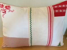 Mixed Vintage Textiles CHRISTMAS Designer Pillow.  Use PIN10 coupon code for 10% off ALL Pillows.  Etsy.com/shop/VintageStoryLinens.