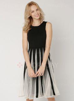Chiffon Color Block Sleeveless Knee-Length Casual Dresses (1011418) @ floryday.com