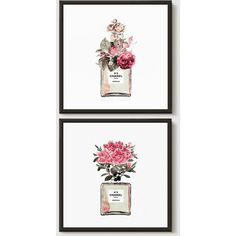 Chanel Perfume Bottle Poster Print. Set of 2. Framed Chanel Art. Ready... ($60) ❤ liked on Polyvore featuring home, home decor, wall art and ilkadesign