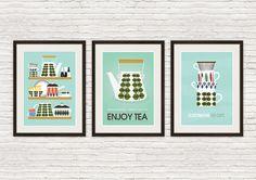 Kitchen print set, Stig Lindberg poster, mid century modern, Cathrineholm poster, kitchen poster,  kitchen decor, art for kitchen, wal art