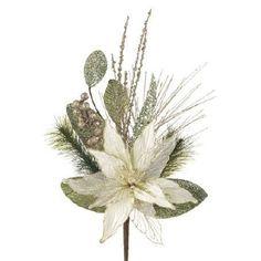 """RAZ Imports - Glittered White and Tiffany Poinsettia Spray 21"""""""