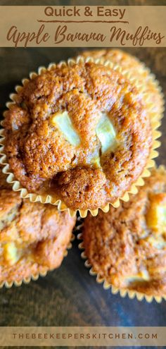 Chocked full of apple & warm spices Apple Banana Muffins are a perfect fall recipe to fill your home with delicious, cozy aromas of autumn!