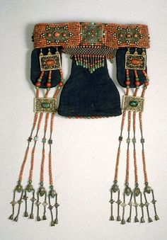 Mongolia Headdress; padded cotton with coral and turquoise beads 1900 - 1950, Ordos ©Asian Art Museum, San Francisco