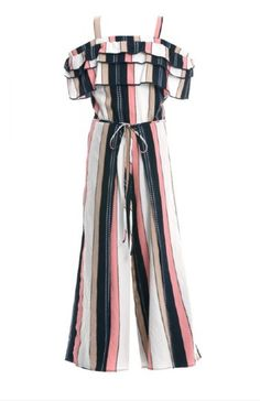Tween Beach Stripe Jumpsuit 10 & 16 Years ONLY - Christmas-Desserts Girls Fashion Clothes, Tween Fashion, Moda Fashion, Teen Fashion Outfits, Girl Outfits, Tween Clothing, Fashion Dresses, Fashion 2020, Fashion Fashion