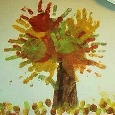 arbre d'automne - Finger Painting Fall Handprint Tree - A Little Tipsy Fall Crafts For Kids, Thanksgiving Crafts, Toddler Crafts, Crafts To Do, Holiday Crafts, Kids Crafts, Art For Kids, Party Crafts, Holiday Tree
