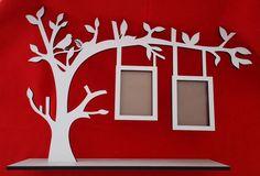 porta-retrato árvore e passarinho -mdf branco- corte a laser