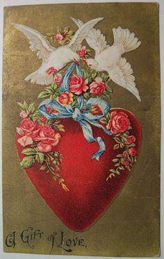 A Gift of Love ~ Vintage Valentine Postcard