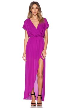 Style inspiration: style of top and slit (Rory Beca Plaza Wrap Gown in Orchid)