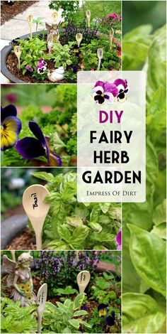 Popular cooking herbs like basil, oregano, chives, rosemary, and thyme grow nicely in containers. Here we've turned a container kitchen herb garden into a fairy garden complete with wooden spoon plant tags. #sponsored
