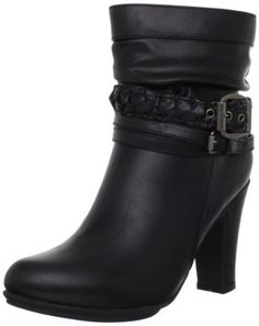 Whitegeese Couple Large Size British Style Buckle Casual Short Boots Mid Heel Short Boots