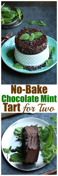 To-die-for NO-BAKE Chocolate Mint Tart for Two. 15 minutes prep. Dairy-free, nut-free, gluten-free, oil-free and incredibly rich and decadent. | http://TheVegan8.com | #vegan #glutenfree #chocolate #mint #tart #nobake #cocoa