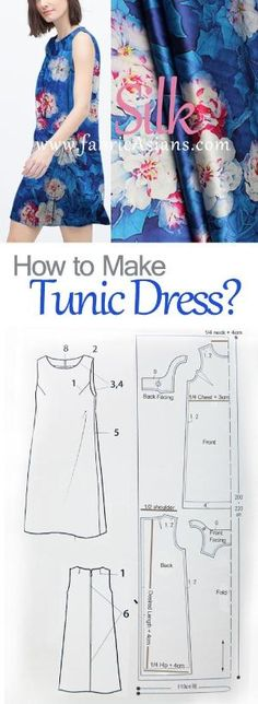 tunic dress sewing pattern free. how to sew tunic dress. blue silk dress project. by gloriaU