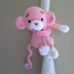 Monkey curtain tieback crochet PATTERN right or left monkey image 2 Crochet Monkey Pattern, Crochet Animal Patterns, Amigurumi Patterns, Love Crochet, Crochet Baby, Adjustable Ring Crochet, Crochet Curtains, Single Crochet Stitch, Crochet Dolls