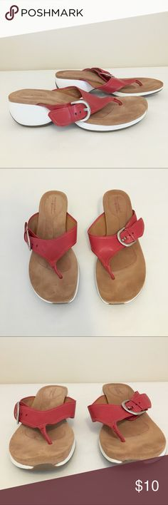 Rockport Red Flip Flops Red leather flip flop sandals by Rockport with white made soles.   Size 8.   Great used condition! Rockport Shoes Sandals