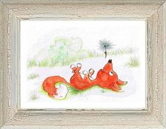 """Items similar to Watercolour/ pencils original """"Foxy"""" . on Etsy Watercolor Pencils, Watercolour, Book Illustration, Illustrations, Childrens Books, Rooster, The Originals, Unique Jewelry, Handmade Gifts"""