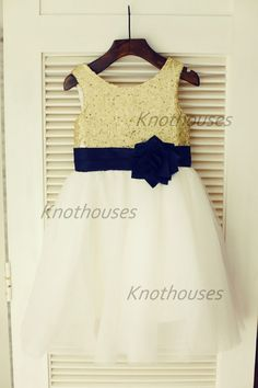 Gold Sequin IvoryTulle Flower Girl Dress Navy Blue by knothouses