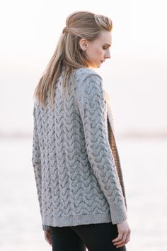 """pierside cardigan / from the book """"texture: exploring stitch patterns in knitwear"""" by hannah fettig of knitbot / in quince & co. lark, color iceland"""