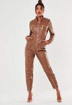Faux Leather - Shop by Trend Leather Shirt Dress, Leather Jumpsuit, Casual Jumpsuit, Faux Leather Pants, Jumpsuit Dress, Ashley Clothes, Leather Catsuit, Playsuit Romper, Vintage Style Outfits
