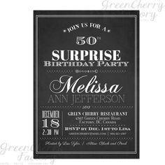 Typography Adult Surprise Birthday Invites - Chalkboard Black and White - Printable Surprise Adult Birthday Invitation - No.14. $15.00, via Etsy.