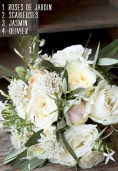 Bouquet de mariée {jasmin, rose et olivier}