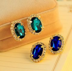 18KG Plated 2Color GorgeousTemperament OL Exquisite Full Cystal Rhinestone Gem18KGP Stud Earrings