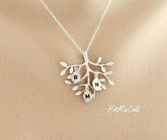THREE Monogram Necklace Silver Tree Necklace Sisters by hotmixcold, $32.00