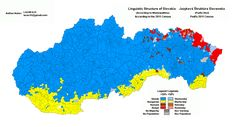Ethnic map of Slovakia according to the 1991 population census Historical Maps, Cartography, Family History, Language, Europe, Anthropology, Infographics, Flags, Makeup