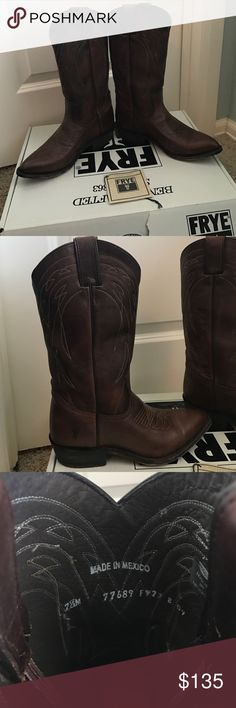 Frye women's Billy pull on cowboy boots Frye leather women's cowboy boots. Worn a few times, normal wear on sole (see above picture). 7.5 M size. Super cute and comfy just don't fit my feet after I had my baby. Feel free to make an offer! Frye Shoes