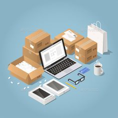 Buy Online Shopping and Delivery Illustration by Petrolium on GraphicRiver. Vector isometric illustration of online shopping and delivery. laptop with order surrounded with cardboard boxes, sho. Isometric Art, Isometric Design, Illustration Girl, Digital Illustration, Logo Online Shop, Supermarket Logo, Instagram Background, Journey Mapping, Computer Icon