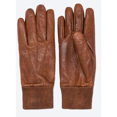 Zara Cuffed Leather Gloves (€38) ❤ liked on Polyvore featuring mens, men's accessories, men's gloves and camel