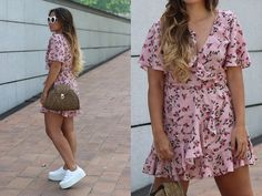 Claudia V. - Pink Floral Wrap Dress
