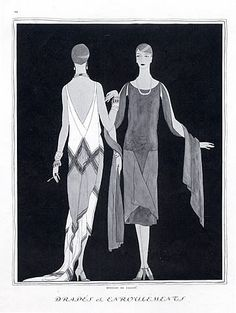 Callot Soeurs 1926 Evening Gown, Fashion Illustration, Art Deco Style