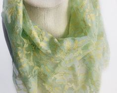 Mint Green lace scarf, Yellow lace scarf Beach Cover up, Office Neckerchief Birthday gift for mom, Bridesmaids lace scarves in bulk by blingscarves. Explore more products on http://blingscarves.etsy.com