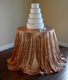 Blush Champagne Sequin Tablecloth 108 Round $192