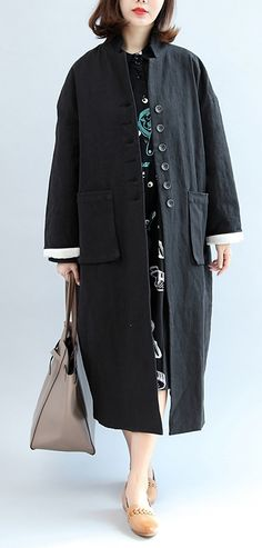 new fall black stylish linen plus size casual maxi coat