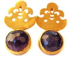 toosis Amethyst Fleur De Lis Earrings t8c3I