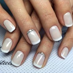 Trendy nails gel wedding shape ideas You are in the right place about nail natural v Wedding Day Nails, Wedding Nails Design, Wedding Pedicure, Bride Nails, Prom Nails, French Nails, Bridal Nails French, Cute Nails, Pretty Nails