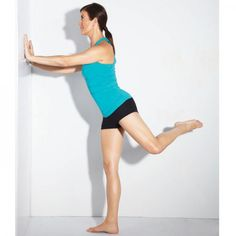 Kate Walsh  Glute Sweep Works: Butt Stand facing a wall with feet wide, toes turned out, and arms extended at chest height in front of you, palms pressed against wall. Bend your knees, then rise up on your right leg as you keep your left leg bent and press it up behind you. Return to starting position. Do 15 reps; repeat on opposite side to complete set.