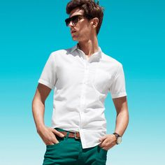 c0feaaa321 2017 Summer Men's Short Sleeve Shirt Stripe Slim Comfortable Youth Leisure  and Business Office Non-Iron Casual Slim Fit clothing