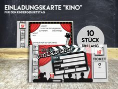 Einladungen - EINLADUNGKARTE KINO, 10 Stück - ein Designerstück von KleineFabrik bei DaWanda