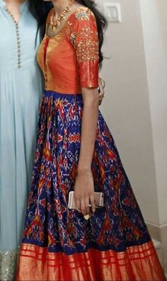 Ikkat pattu/silk anarkali in Orange n blue Salwar Designs, Mehndi Designs, Half Saree Designs, Blouse Designs, Lehenga, Anarkali Dress, Long Gown Dress, The Dress, Dress Indian Style
