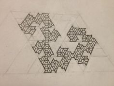 'Right-Handed Dragon.'  Fractal created by taking a half-hexagon trapezoid rep-tile, cutting out the left of its 4 identical component pieces, and repeating the process over and over again.  (NOTE: This is not the dragon curve fractal, though it's just as cool!)