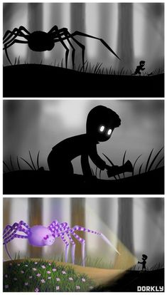 """Limbo """"Real"""" Spider... What if the whole time Limbo was a real messed up place all covered in flowers and cute bows?"""