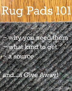 Rug Pads 101 - why & which rug pads you need. American made. Chemical, adhesive & glue free. Natural & recycled materials give a solid foundation.