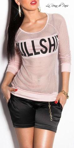 Moda camisetas sexy en red con estampado Veto rosa