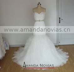 New Arrival Amanda Novias Designs Mermaid Wedding Dress With Beading Belt NS765