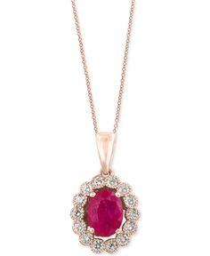 Amore by Effy Certified Ruby (1-3/8 ct. t.w.) and Diamond (3/8 ct. t.w.) Bezel Pendant Necklace in 14k Rose Gold