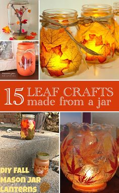 Make these leaf crafts with jars for your fall decor!