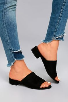 Our shoe wishes have come true thanks to the Dreama Black Suede Mules! Ultra soft vegan suede is molded to a sweet peep-toe upper, and slide-on silhouette. Black Mules Shoes, Black Sandals, Heel Boots For Women, Shoes Women, Dressy Sandals, Peep Toe Shoes, Women's Shoes, Nude Shoes, Golf Shoes