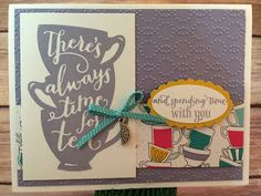"""This tea themed Wisteria Wonder and Crushed Curry card uses Stampin' Up!'s: A Nice Cuppa stamp set, Have a Cuppa Designer Paper Stack, Bermuda Bay 1/8"""" Stitched Ribbon, Have a Cuppa Embellishments, Elegant Dots Folder, and the Large and Scallop Oval punches.  www.stampwithjennifer.blogspot.com"""